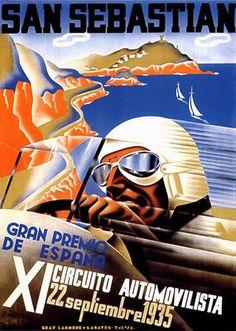"1935 San Sebastian Spain Car Race Grand Prix Fine Vintage Poster Repro 12""X16""   eBay"