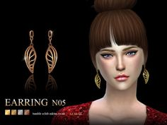 The Sims Resource: Earring 05 by S-Club • Sims 4 Downloads