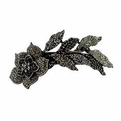 DoubleAccent Hair Jewelry Large Crystal Long Stem Rose Barrette Black Color  #Double_Accent #Jewelry