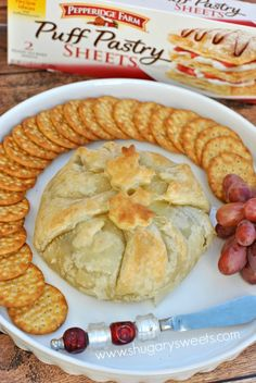 Puff Pastry Wrapped Brie with Cranberries and Pecan recipe