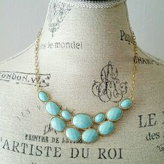 Mint Blue Statement Necklace Brand new!!! - minty blue gems - gold toned hardware - great for spring! Jewelry Necklaces