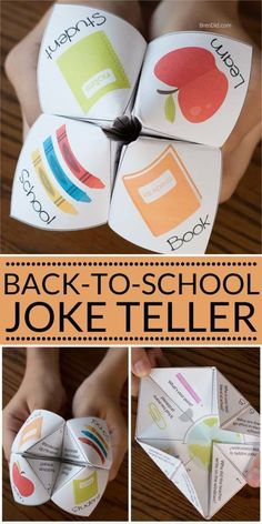 Paper joke tellers are a fun back to school activity for kids that can be made in just a few minutes. This silly fortune teller or cootie catcher is full of school jokes that are perfect for kids. Back to school activity. Back To School Crafts For Kids, Back To School Party, Back To School Activities, Jokes For Kids, School Parties, First Day Of School, Activities For Kids, School Icebreakers, School Ideas