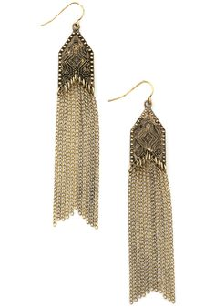 Bohemian Harmony Earrings. Bring a bit of beatnik breeziness to your look with these antiqued-gold duster earrings!  #modcloth