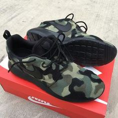 various colors 0cd2f f1230 Custom Black Camo Nike Roshe - Hand Painted Camouflage Nike Sneakers