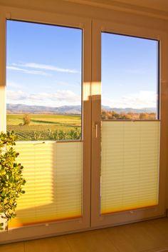 gelbe Sichtschutz und Sonnenschutz Plissees von sensuna® #Türen