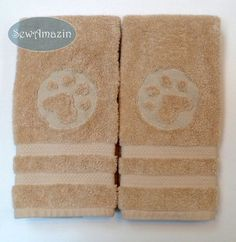 Embossed Paw Print Embroidered Hand Towel Set of 2 | SewAmazin - Pets on ArtFire