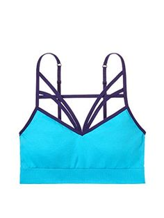 Victorias Secret PINK Seamless Strappy Bralette Large 36CD Neon Ocean Blue * Find out more about the great product at the image link.