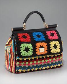 "Dolce  Gabbana ""Miss Sicily"" crocheted handbag.... granny squares go haute couture in 2012!"