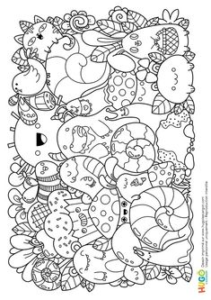doodle art Coloriage et illustration kawaii d - art Halloween Coloring Pages, Cute Coloring Pages, Doodle Coloring, Cartoon Coloring Pages, Animal Coloring Pages, Adult Coloring Pages, Coloring Books, Cute Doodle Art, Doodle Art Designs