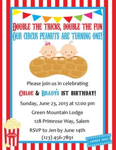 Twins Birthday Invitation - Circus Themed (Digital File) on Etsy, $12.00