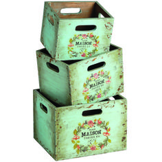 Set of 3 wooden Distressed Duckegg Blue French Style Paris Storage Boxes Crates Small Storage Boxes, Kitchen Storage Boxes, Wood Storage Box, Decorative Storage Boxes, Storage Crates, Tv Storage, Record Storage, Food Storage, Storage Ideas