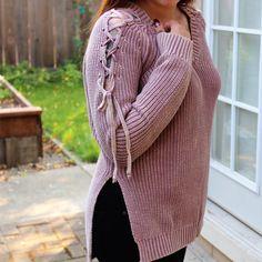 Tied-Sleeve Mauve Sweater