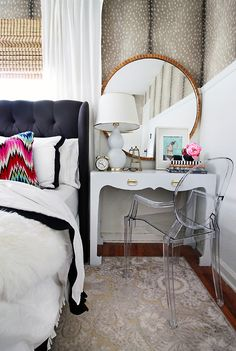 LOVE | Round Gold Mirror+ Ghost Louis chair + white vanity with gold hardware + white gourd lamp × wallpaper × charcoal upholstered bed with white & black bedding + colorful Missoni accent pillow