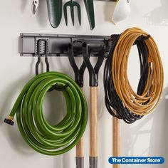 Welcome to instant organization for garages, sheds and utility rooms. This complete kit includes a track system rail with three storage hooks shaped for a range of tasks. Hold backpacks, sports gear, garden tools and more. Make the most of vertical space. Mounting hardware is provided so you're all set to restore order. Shelf Hooks, Storage Hooks, Garage Tool Organization, Reach In Closet, Tracking System, Wire Shelving, Container Store, Garden Tools, Kit