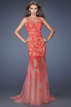 2014 Scoop Neckline With Beautiful Low Back Prom Dress Mermaid Lace&Tulle USD 179.99 TSPPCMLXYLZ - StylishPromDress.com
