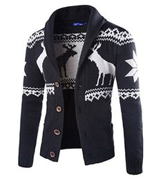"""Product review for Men's National wind fawn cardigan sweater knitting on Christmas day.  Product Size S ———-Chest 38.2""""—-Length 25.2""""—-Shoulder 17.3""""—-Sleeve 26.8"""" M ———-Chest 39.4""""—-Length 26.0""""—-Shoulder 18.1""""—-Sleeve 27.2"""" L———–Chest..."""