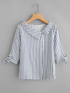 Preppy Button and Knot Striped Shirt Regular Fit Collar Half Sleeve Navy Vertical Striped Tie Cuff Blouse Source by daydaychic Blouses Kurta Designs, Blouse Designs, Blouse Styles, Collar Styles, Sewing Clothes, Dress Patterns, Blouses For Women, Ladies Blouses, Fashion Dresses