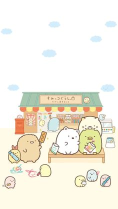 Sumikki Gurashi at the candy shop wallpaper Sanrio Wallpaper, Kawaii Wallpaper, Kawaii Doodles, Kawaii Art, Kawaii Drawings, Cute Drawings, Cute Backgrounds, Animal Sketches, Cute Chibi
