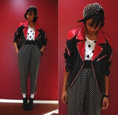 Thee Dawl House Spiked Hat, Vintage Leather Jacket, Thrifted Polka Dot Shirt, Thrifted Polka Dot Pants