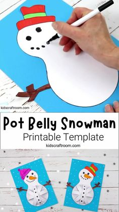 Winter Crafts For Kids, Paper Crafts For Kids, Art For Kids, Snowman Crafts For Preschoolers, Snowman Craft Preschool, Winter Preschool Crafts, Diy Snowman, Easy Halloween Crafts, Holiday Crafts