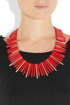 Kenneth Jay Lane 22-karat gold-plated resin necklace $300