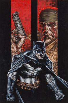 "biggoonie: "" Batman/Deathblow original cover art by Lee Bermejo 2002 * "" Batman Vs Spiderman, Batman Dark, Batman The Dark Knight, Batman Universe, Comics Universe, Comic Book Covers, Comic Books, San Diego, Lee Bermejo"