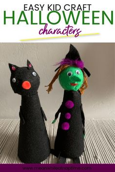 Make these simple Halloween kid crafts. You can make a witch, cat, bat or ghost Halloween character for some fun, kid made Halloween decor. #kidcraft #halloweendecoration Halloween Arts And Crafts, Halloween Activities For Kids, Activities For Boys, Arts And Crafts Projects, Halloween Kids, Diy Kid Crafts For Boys, Spider Crafts, Witch Cat, Simple