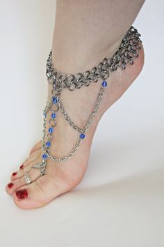 Pair Chainmail bare foot sandal foot flower slave anklet Sapphire Blue Crystals