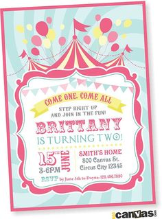 Circus Birthday Invitation. Girls Carnival Party Invite. Pink Teal Yellow Circus Tent Bday Invites. Carnival Circus. Come One Come All, Pink Blush Teal
