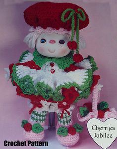 "Instant Download PDF Vintage Eighties 14"" Cherries Jubilee Crochet Doll Pattern by TheBluOwl on Etsy https://www.etsy.com/listing/218442052/instant-download-pdf-vintage-eighties-14"