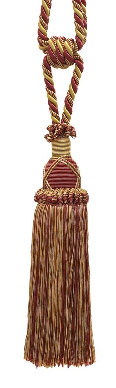 "Beautiful Burgundy Red, Gold Curtain & Drapery Tassel Tieback / 10"" tassel, 30 1/2"" Spread (embrace), 3/8"" Cord, Imperial II Collection Style# TBIC-1 Color: BURGUNDY GOLD - 1253"