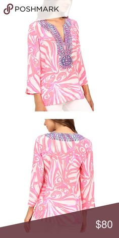 EUC Lilly Pulitzer Amelia Island Tunic Excellent condition!! Only worn once for a few hours. Made of 100% Silk! Lilly Pulitzer Tops