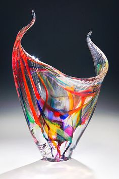 Angelwings Sculpture - Hand blown glass with a painterly design.  Handcrafted by Goldhagen Studios glass in North Carolina.