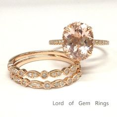 Oval Morganite Engagement Ring Trio Sets Pave Diamond Wedding 14K Rose Gold 9x11mm - Lord of Gem Rings - 2