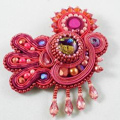 Bead Show: Bead Show Workshops & Classes: Saturday June 8, 2013: B131008 Soutache and Bead Embroidery: Very Important Pin (VIP)