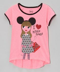 Take a look at this Neon Pink & Black 'I Love Minnie Mouse' Tee by Minnie Mouse on #zulily today!
