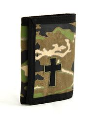 Camo Trifold Wallet with Cross  -