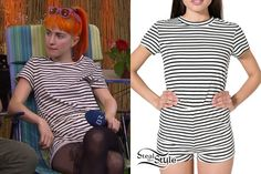 Hayley Williams: Striped T-Shirt Romper Hayley Williams Style, Fashion Idol, Urban Fashion, Her Style, American Apparel, Celebrity Style, Paramore, Cute Outfits, Short Sleeve Dresses