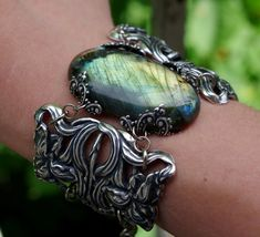 Silver bracelet Gothic jewelry Labradorite Bridal by RosaryBlue, $120.00