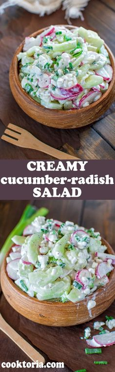 Creamy Cucumber-Radish Salad -- A healthy combination of refreshing cucumbers, crunchy radishes and creamy cottage cheese. This is a MUST TRY salad recipe this summer! Healthy Salads, Healthy Recipes, Radish Salad, Cucumber Salad, Creamy Cucumbers, Little Lunch, Good Food, Yummy Food, Summer Salads