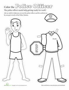 Worksheets: Make a Paper Doll Police Officer