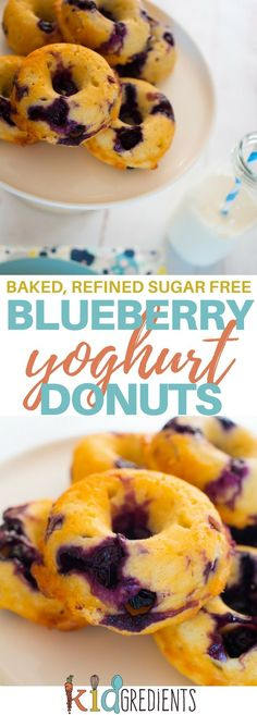 baked blueberry yoghurt donuts, the best sugar free donuts you can bake! Delicious and kid friendly! Great in the lunchbox or even for breakfast, fabulous as afternoon tea. #kidsfood #baked #blueberry #donuts #familyfood #healthyfood #healthykids #lunchbox via @kidgredients