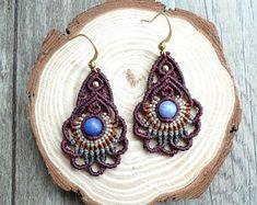 macrame earrings, hoop earrings, macrame jewelry with blue veins stone (A08)