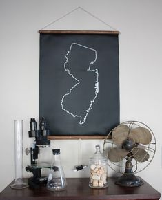 Chalkboard State Map. Chart your travels, mark your favorite spots, or just learn some geography with a chalkboard map of your favorite state.