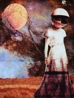 """Artist Erin Case; Collage, """"Moon Balloon"""" #art"""