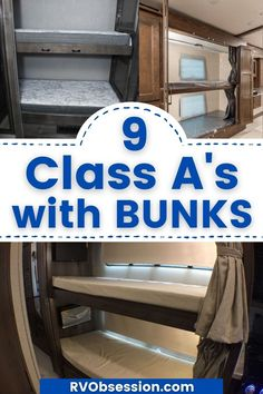 We've complied a list of 9 Class A motorhomes that have bunk beds permanently built in. You don't have to make up beds for the kids each night, and they have a private space that they can make their own. RV bunk beds | Motorhome bunk beds | Class A motorhome with bunks Best Motorhomes, Class A Motorhomes, Rv Bunk Beds, Kid Beds, Popup Camper, Truck Camper, Fleetwood Rv, Sibling Fighting, Class A Rv