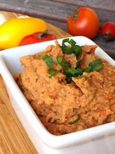 Vegan Marinated and Roasted Tomato Garlic Hummus (oil-free) from Dreena Burton's Plant-Powered Kitchen blog