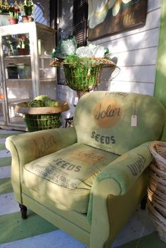Couch upholstered using old feed sacks - these can be found at local antique shows and fairs.  Salvage an old chair!