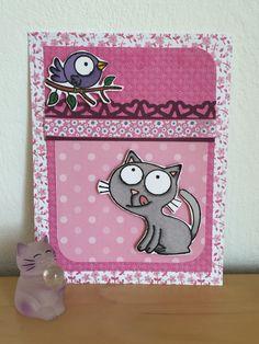 Carte rose avec chat.