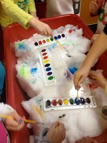 The Very Hungry Preschoolers: Back at it with SNOW.  Water color paint on fiberfill or cotton balls.